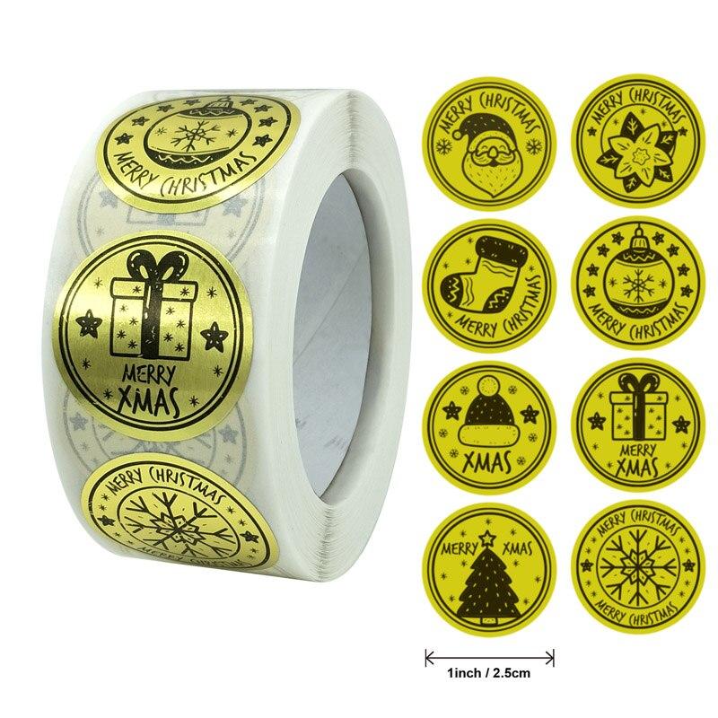 500 шт/рулон Счастливого Рождества наклейки 1 дюйм Золотая фольга бизнес этикетки подарочные бирки подарочная упаковка украшение