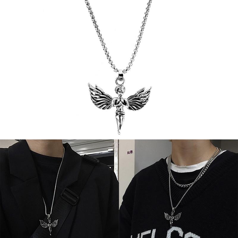 Retro coreano harajuku estilo hip hop asas de anjo pingente de aço inoxidável colar dos homens disco casal colar jóias ornamentos