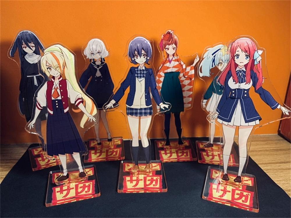 Japón Anime Zombieland Saga Minamoto Sakura Cosplay de dibujos animados figura acrílica con soporte + modelo Base placa Zombie tierra Saga regalos de decoración