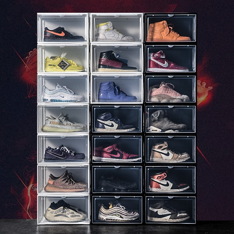 4Pcs Shoe Rack Organizer High-Top Dustproof Aj Sneakers Box Magnetic Thickening Plastic Shoe Box Stackable Cabinet Storage Box