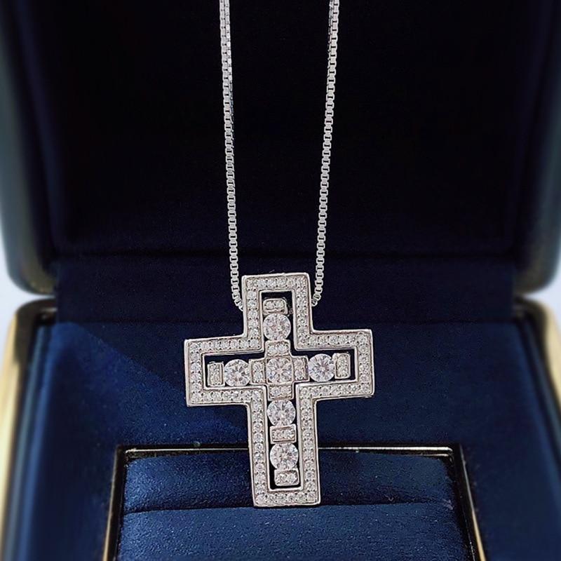 2021 جديد S925 فضة الصليب قلادة قلادة الرجال والنساء العصرية قلادة غرامة مجوهرات هدايا اكسسوارات