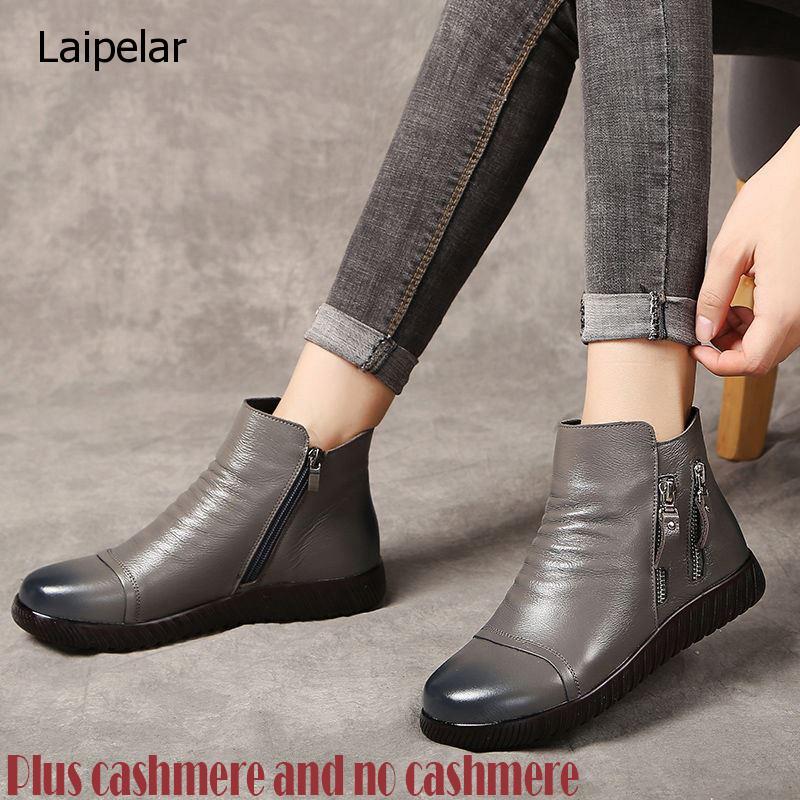 Gktinoo botas de couro genuíno mulheres botas de neve de pelúcia mom sapatos designer zíper cunhas sapatos mulher ankle boots