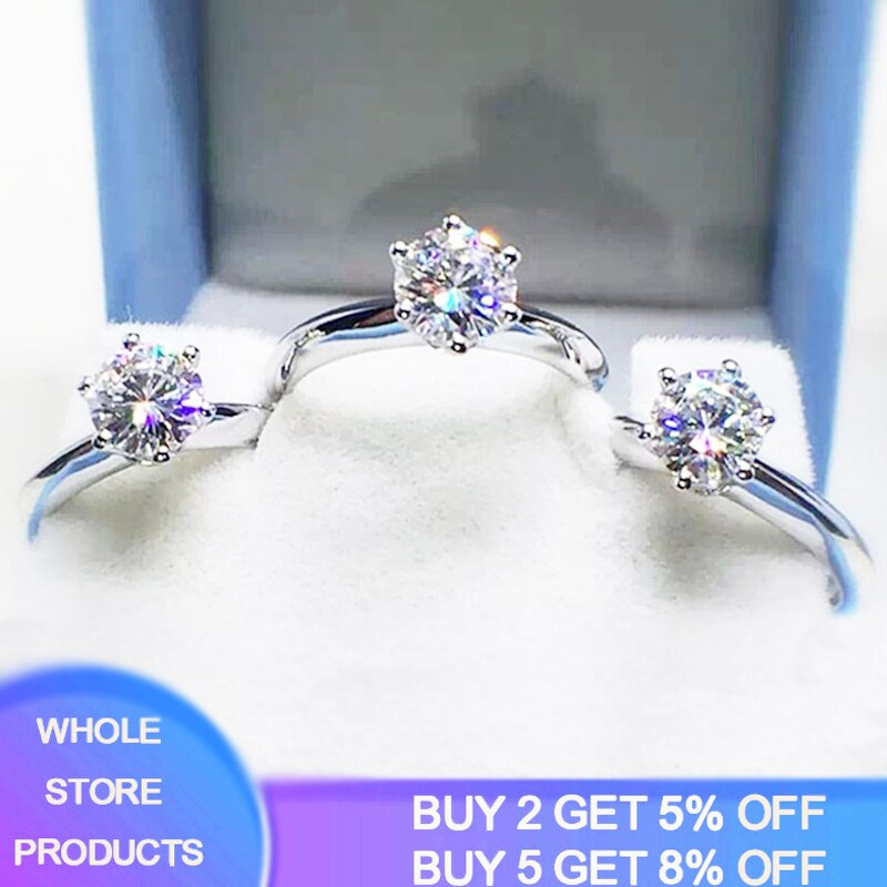 Free Sent Certificate Luxury Solitaire 1 Carat Lab Diamond Wedding Ring Original Pure 18K White Gold Rings Silver 925 Jewelry 95% off with certificate luxury solitaire 2 0ct zirconia diamond ring 925 solid silver 18k white gold wedding rings for women
