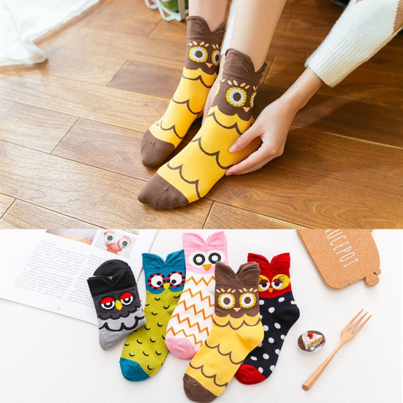 Coreia Do Estilo Das Mulheres Meias casuais Desenhos Animados Da Coruja animal engraçado menina meias meias de Algodão Bonito Meias Moda meias de personalidade