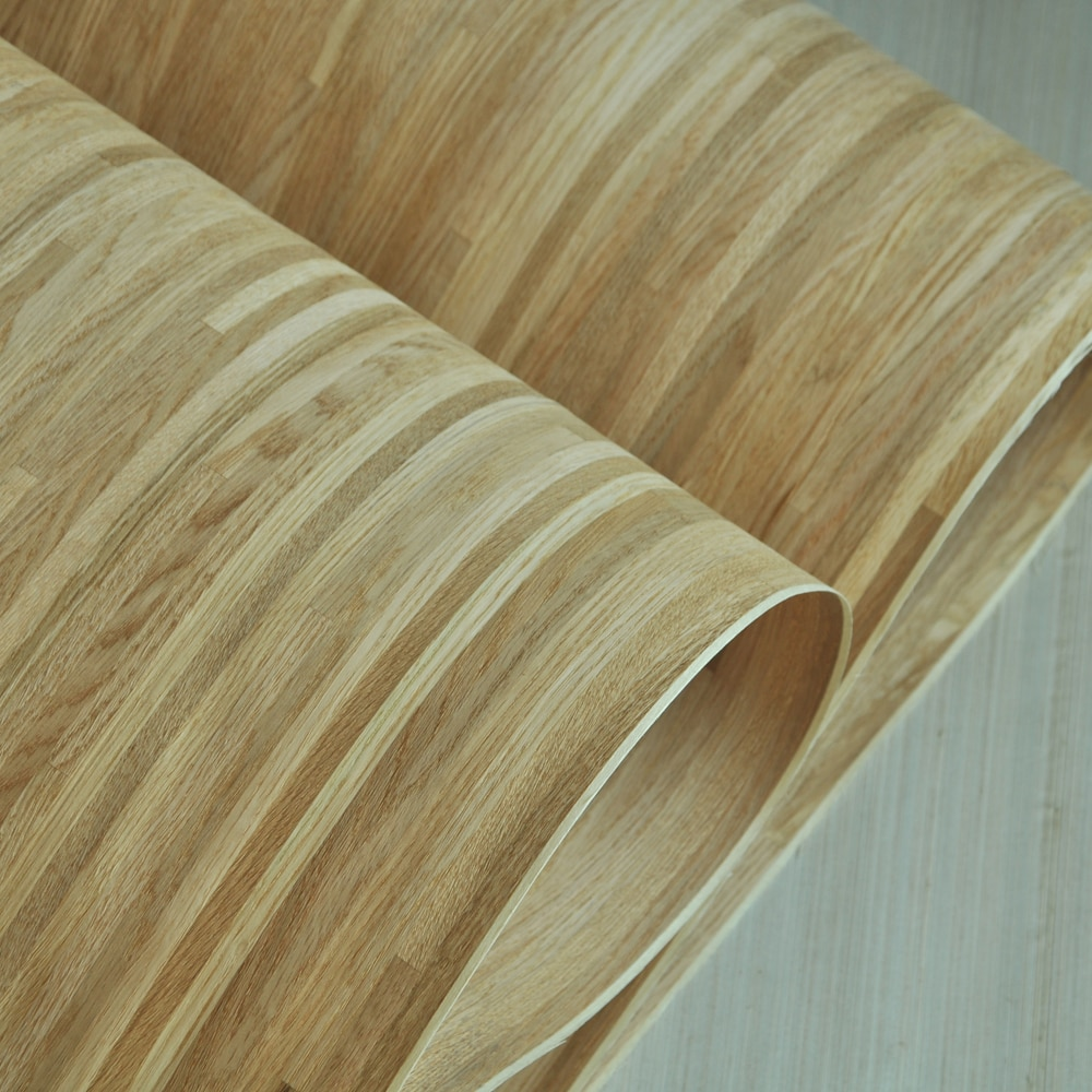 New Design Natural Parquet Wood Veneer Russian Oak Veneer Cross Cut With Fleece Backer