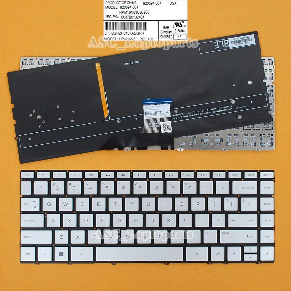 Новая американская английская клавиатура QWERTY для спектр 13-ae000 13t-ae000 13-ae011dx ENVY 13-ad057nr 13-ad065nr с подсветкой, серебристый
