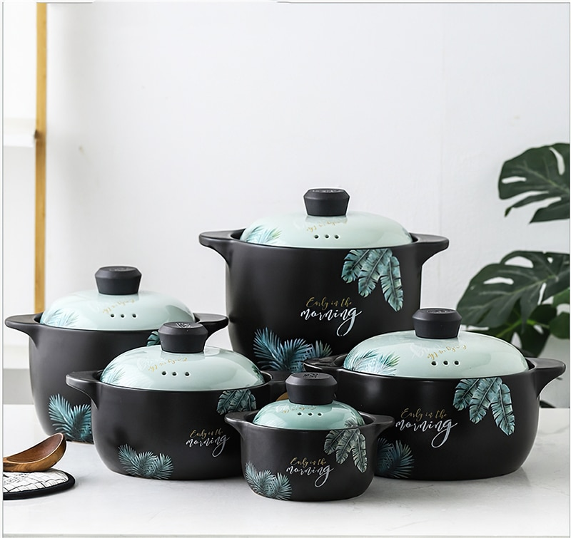 Japanese Creative Leaf Ceramic Casserole Restaurant Kitchen Home Open Flame Heat-resistant Multi-size Soup Pot Steamer