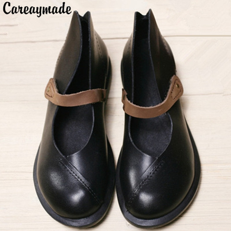 Careaymade-جديد نصف الكاحل قصيرة حقيقية جلد طبيعي النساء دراجة نارية أحذية النساء أحذية الربيع Ma Ding الأحذية ، size4.5-10
