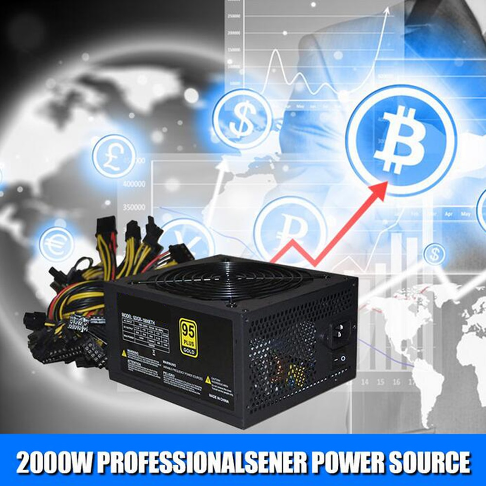 ETH mining 1800W Rated Miner Power Supply 95% High Efficiency ATX Mining Power Source Support 8 GPU Card Max Up to 2000W Supply