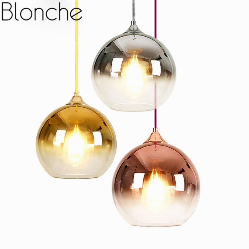 Lámparas colgantes con bolas de cristal modernas, lámpara colgante de espejo Led para comedor, sala de estar, accesorios de iluminación para interiores, luminaria de suspensión