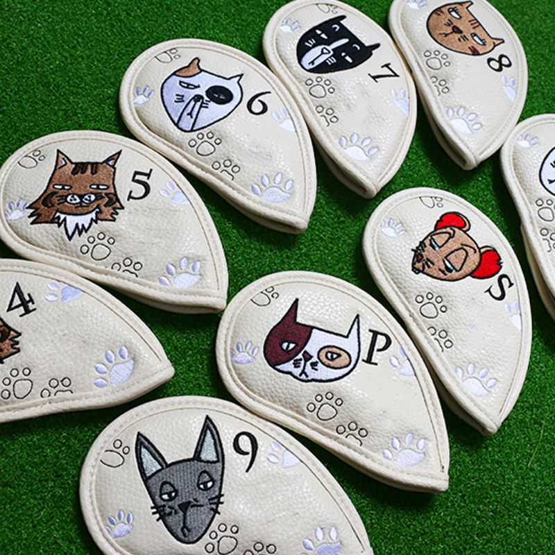 9 pçs portátil golf club headcovers bonito gato dos desenhos animados padrão plutônio capa à prova dwaterproof água
