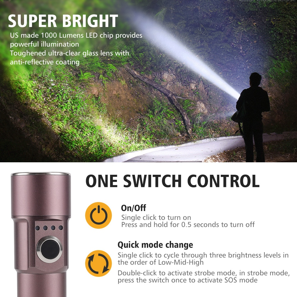 Foxhawk 1000 Lumens small flashlight, Pocket Flashlight with cree led,5 modes, Rechargeable, Waterproof, for camping, Emergency enlarge