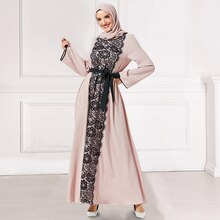 Siskakia Women Long Dress Fashion Lace Hit Color Patchwork Elegant Dresses Loose Plus Size Casual Muslim Wears Pink Autumn 2019