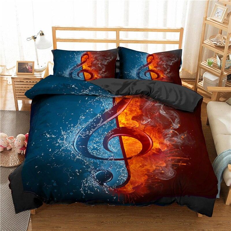 Juego de cama ZEIMON 3d música estampado con diseño de notas Textiles para el hogar patrón de guitarra edredón conjunto colcha de lujo King Size ropa de cama