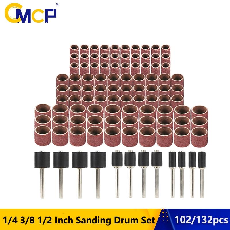 102pcs 1/4 3/81/2インチサンディングドラムセットネイル用サンディングマンドレルサンディングバンドDremelアクセサリー