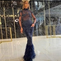 high neck sheer top lace applique feather mermaid evening dresses dark blue zipper back floor length prom gown party wear