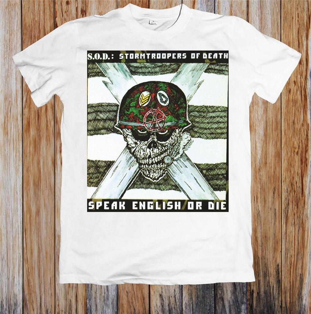 S O D Stormtroopers Of Death habla inglés O Die Anthrax camiseta Unisex camiseta Casual algodón Unisex
