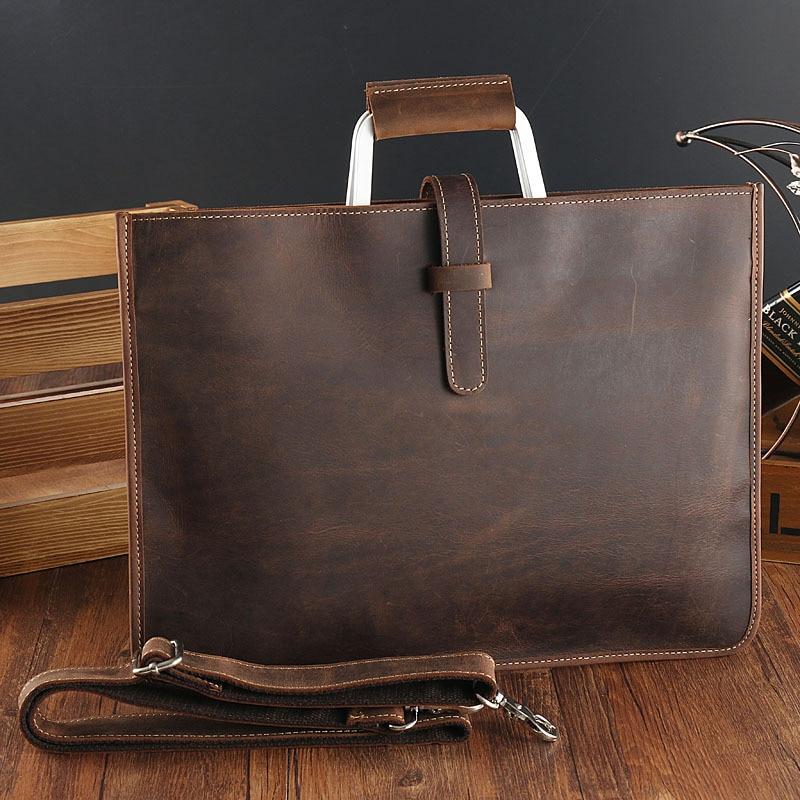 14 Inch Genuine Leather Briefcase Bag Men Zipper Messenger Office Bag Luxury Designer Hand Bag Men's Laptop Bag for Male Bags