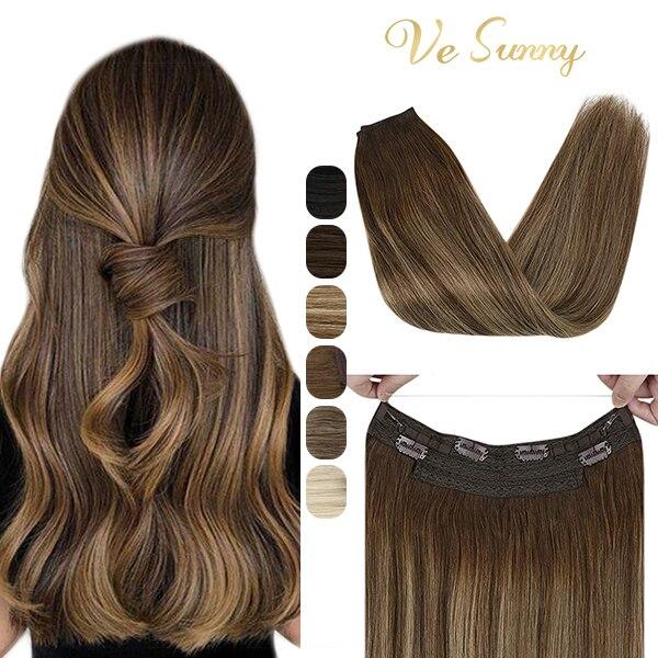 VeSunny تمديدات شعر غير مرئية خفية سلسلة شعر مستعار بشري سلك لحمة مع 2 مقاطع آلة صنع ريمي مزدوجة لحمة