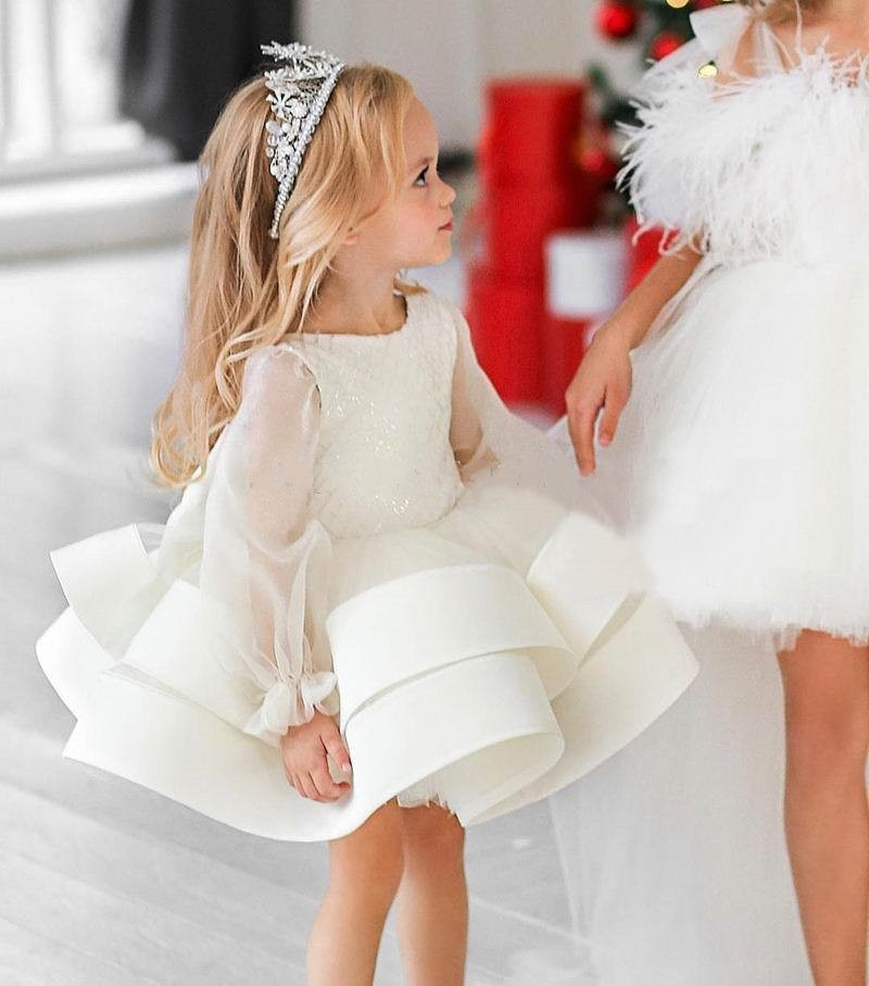 Elegant Ivory White Girl Dress For Special Occasion Puffy Tulle Baby Gown Birthday Party Gown for Special PhotoShoot