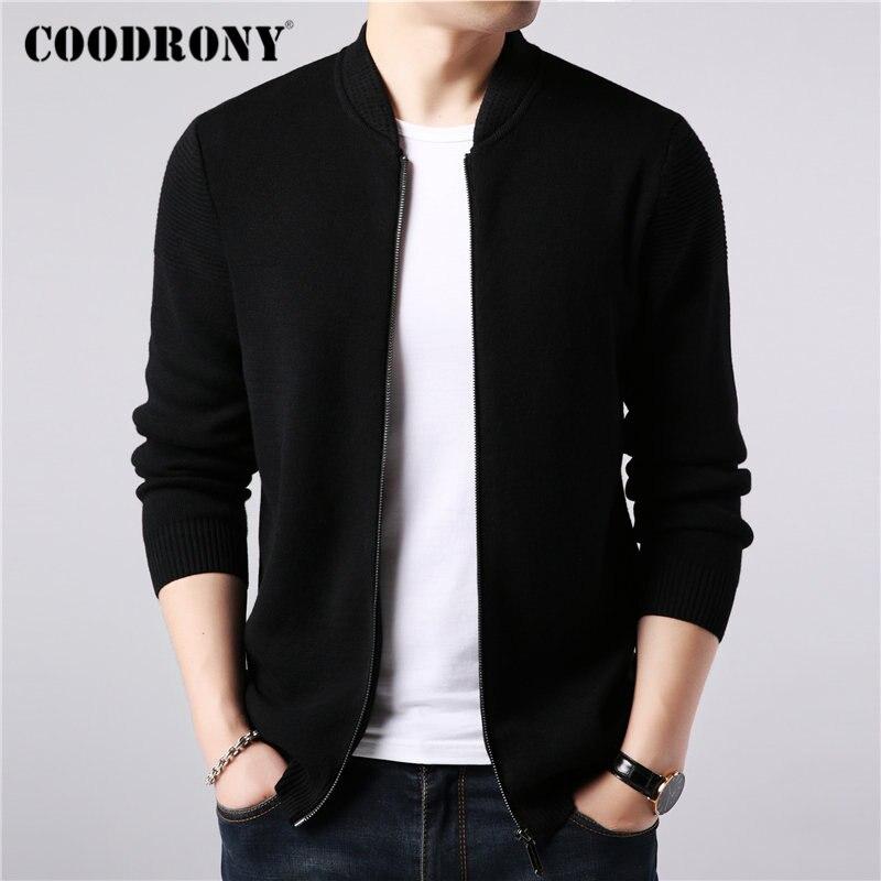 Coodrony marca camisola casaco de lã de caxemira dos homens cardigan roupas 2019 novas chegadas outono inverno grosso quente com zíper casacos 91088
