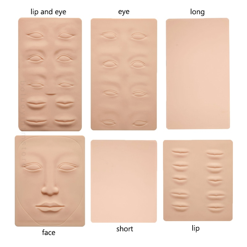 3D Silicone Permanent Makeup Tattoo Training Practice Fake Skin Blank Eye Lips Face For Microblading
