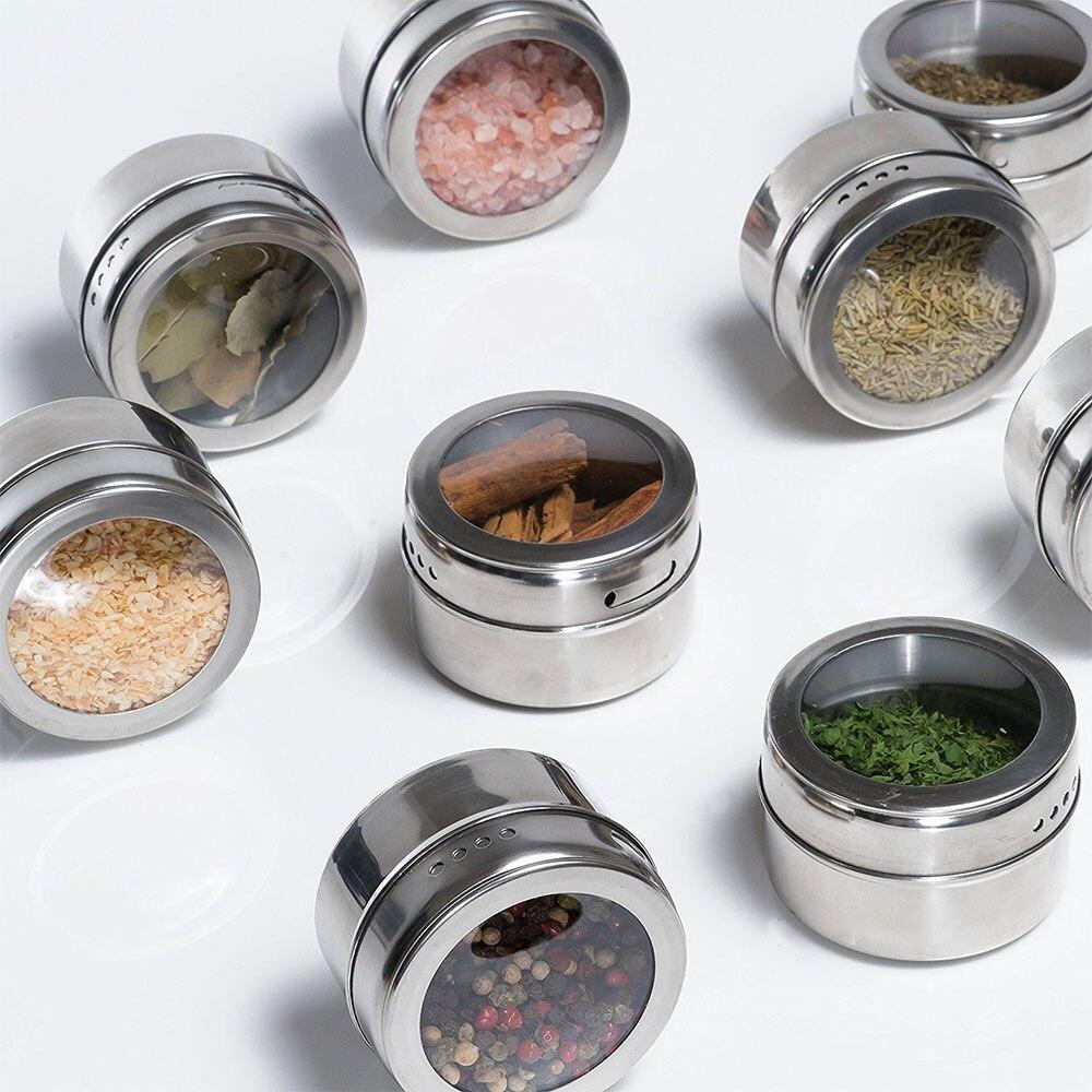 6/12 Uds herramientas de especias magnéticas latas de acero inoxidable botellas de condimentos jarras de contenedores de almacenamiento tapa transparente pegatinas de refrigerador #