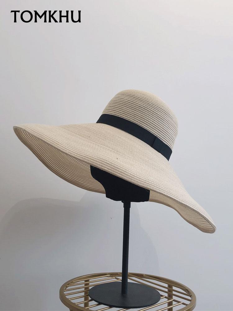 New Simple Foldable Big Wide Brim Floppy Girls Straw Hat Sun Hat Beach Women Summer UV Protect Travel Cap Female Free Shipping