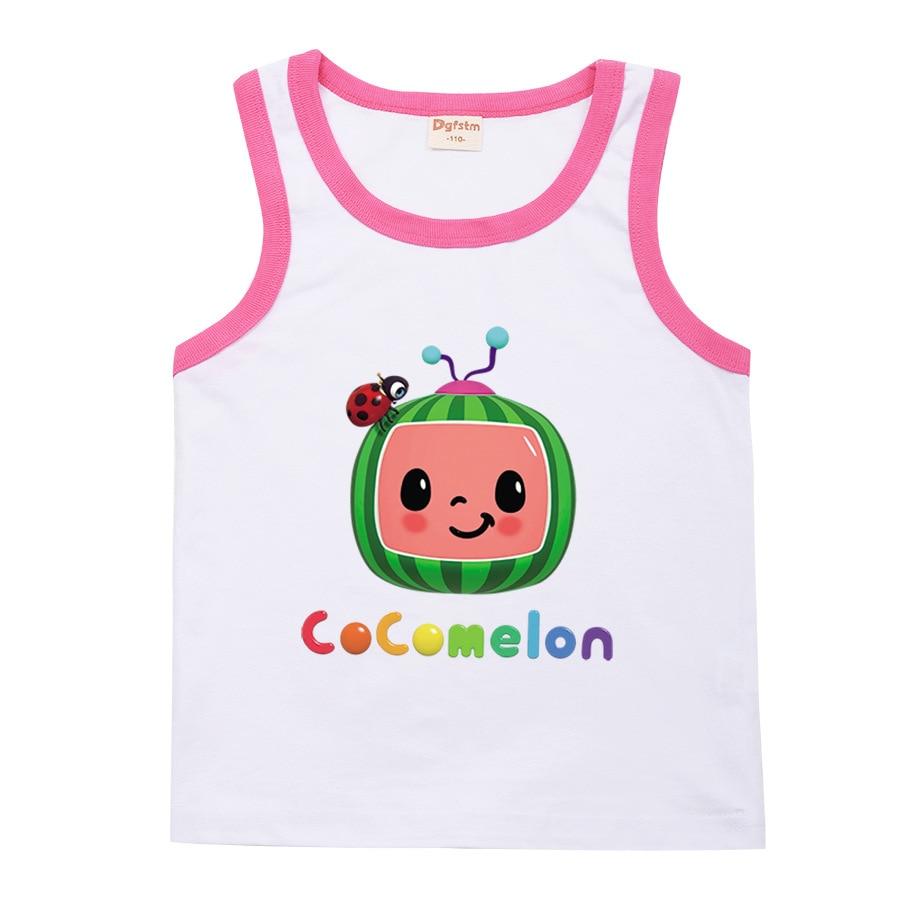 2-16Y Boys Cute Cocomelon Clothes Children's Sleeveless T Shirt Kids Cartoon Cotton Vest Baby Girls Watemelon Graphic Clothing