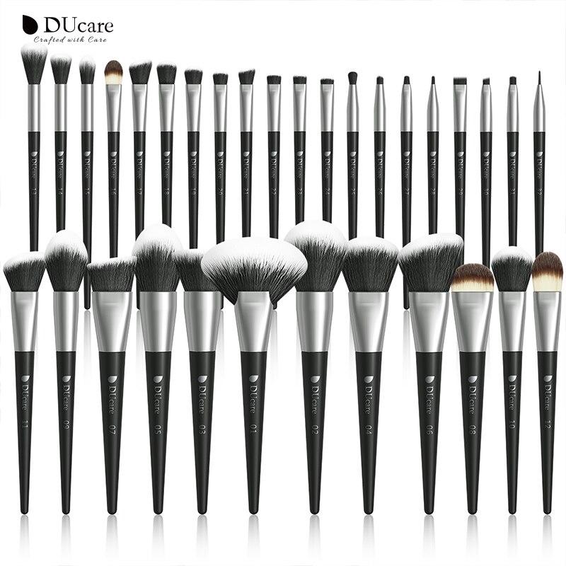 DUcare 32PCS black Makeup brushes set Professional Natural goat hair brushes Foundation Powder Contour Eyeshadow make up brushes