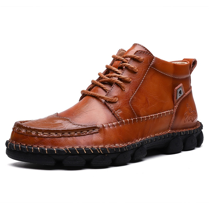 New Autumn Winter Leather Men Boots Comfortable Motorcycle Footwear Rubber Ankle Mens Shoes Size 38-48
