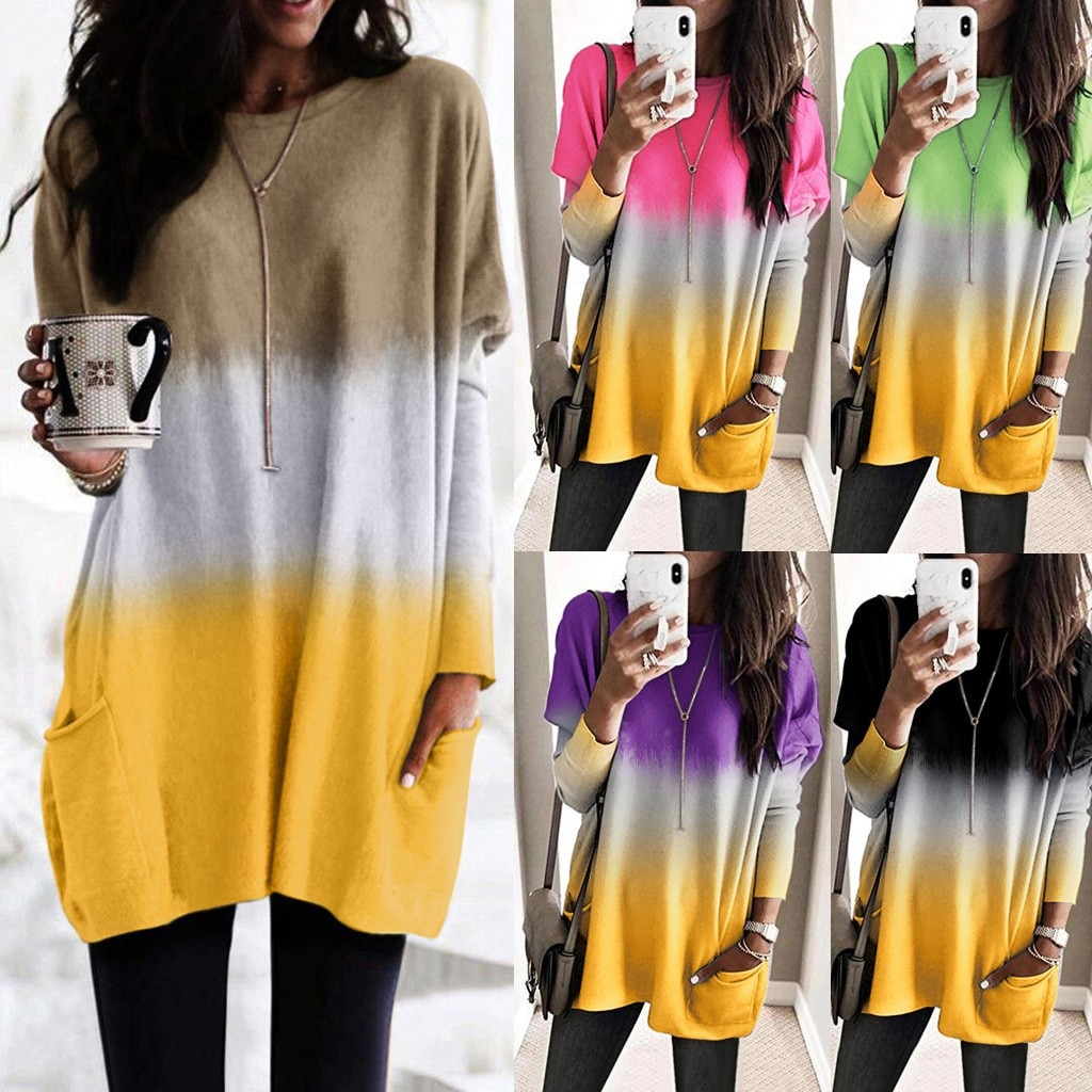 2020 2019 tshirt vintage gótico mujer topo t moda feminina contraste cor manga longa o-pescoço bolso solto camisas superiores #281028