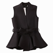 Spring Autumn Women's Jacekt Wool Blends Coat Korean Temperament Ruffled Slim Vest Waistcoat Office Ladies Clothes Tops black