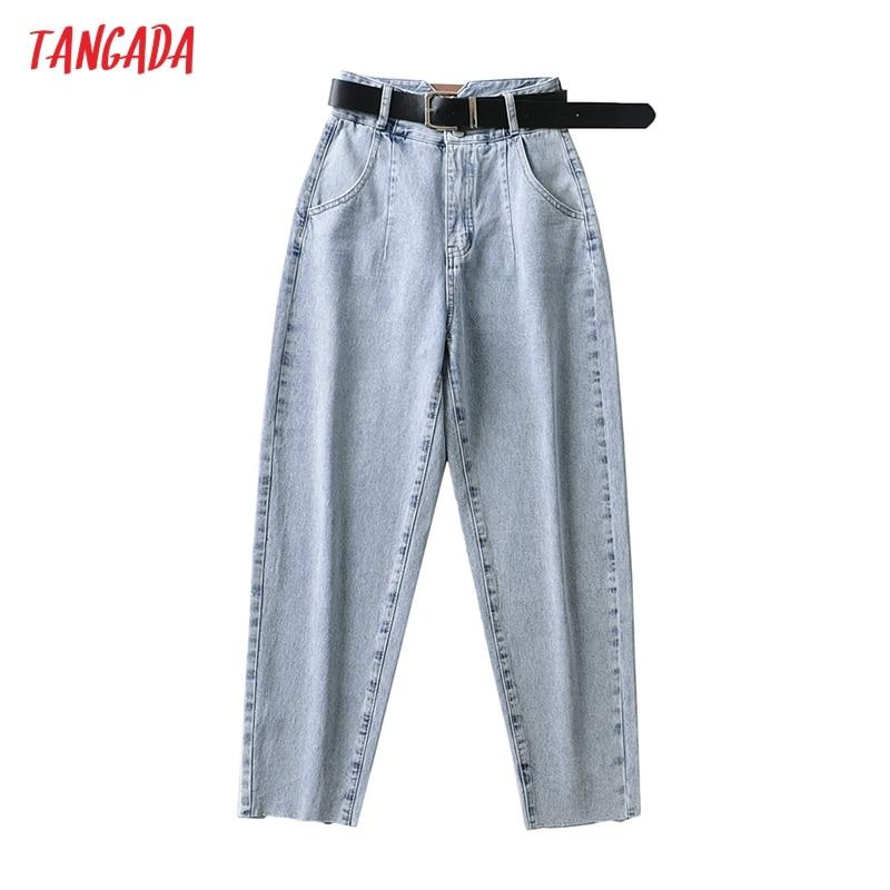 Tangada موضة 2021 سروال جينز أمي فضفاض للسيدات مع حزام بنطلون عالي الخصر جيوب أزرار بنطلون دينم 2A06