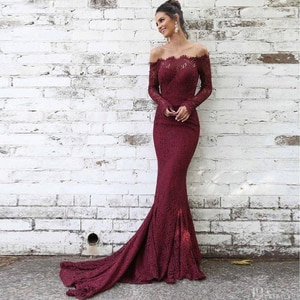 Elegant Burgundy Evening Dresses Long Sleeve Off the Shoulder Lace Formal Dress 2020 Mermaid Prom Gown Robe Soiree Dubai
