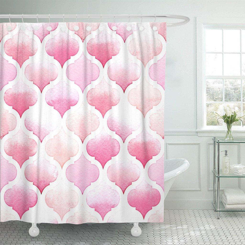 Padrão morocan de cores cor-de-rosa em aquarela arabesque cortina de chuveiro impermeável poliéster 72x78 polegadas conjunto