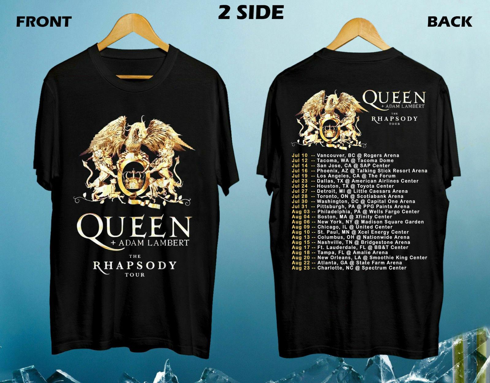 Nueva reina + Adam Lambert la Rhapsody Tour camiseta 2019 North American tamaño S a 3XL camiseta te superior Harajuku de talla grande