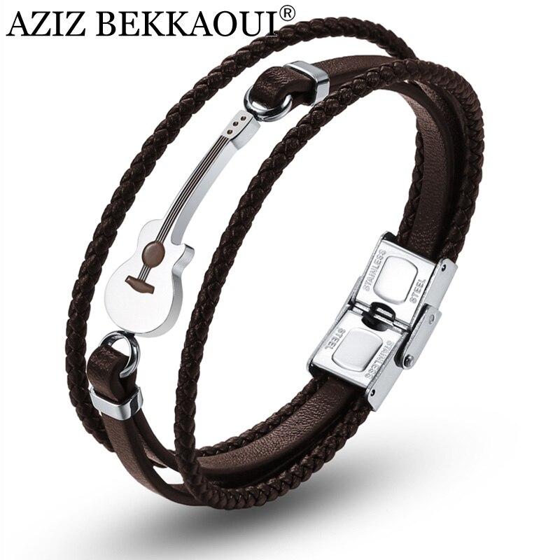 AZIZ BEKKAOUI, pulseras de guitarra marrón con nombre grabado, pulsera de cuero de acero inoxidable negro para hombres, brazalete de cuerda, Dropshipping