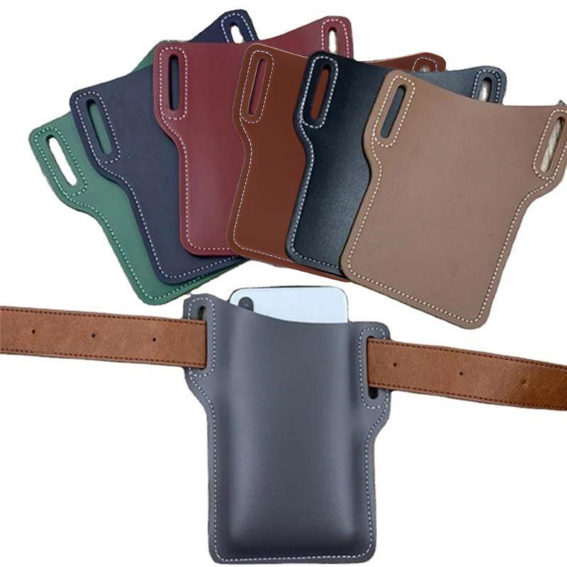 ¡Novedad de 2020! Bolsa de cinturón para teléfono móvil, bolsa de cuero PU para hombre, funda con cubierta, cinturón, riñonera