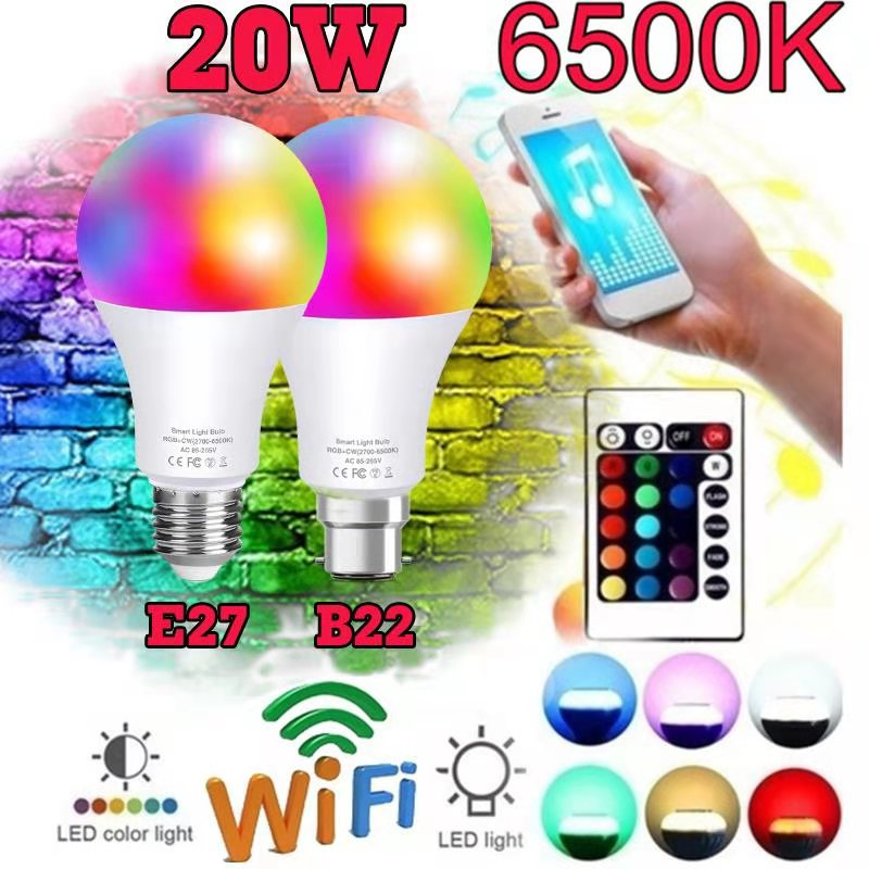 Wifi Smart Bulb APP Remote Control Work With Alexa/Google Home B22 E27 Dimmable Led Smart Light Or IR Remote Control LED Lampas