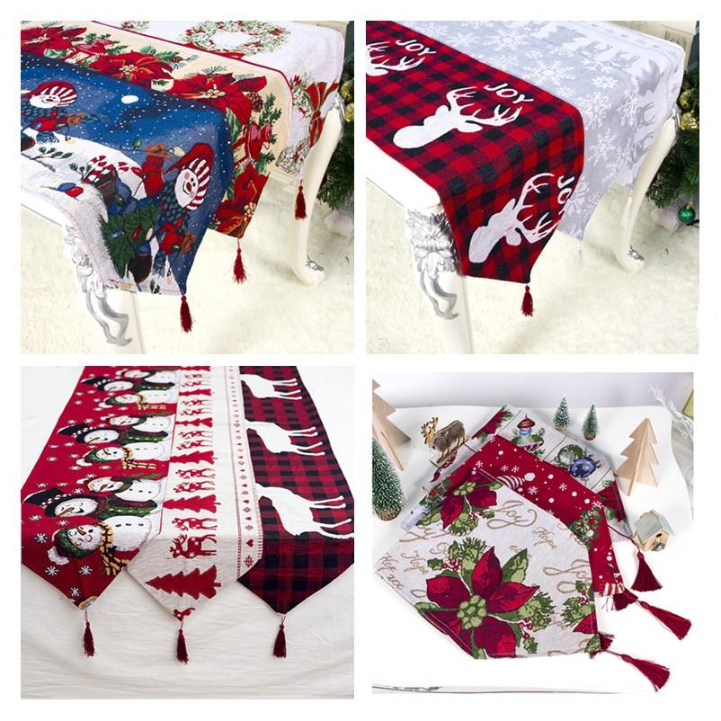 Natal Cotton Printing Christmas Table Runner Christmas Decorations for Home New Year 2020 Decor Xmas Noel Navidad 2019 Ornaments