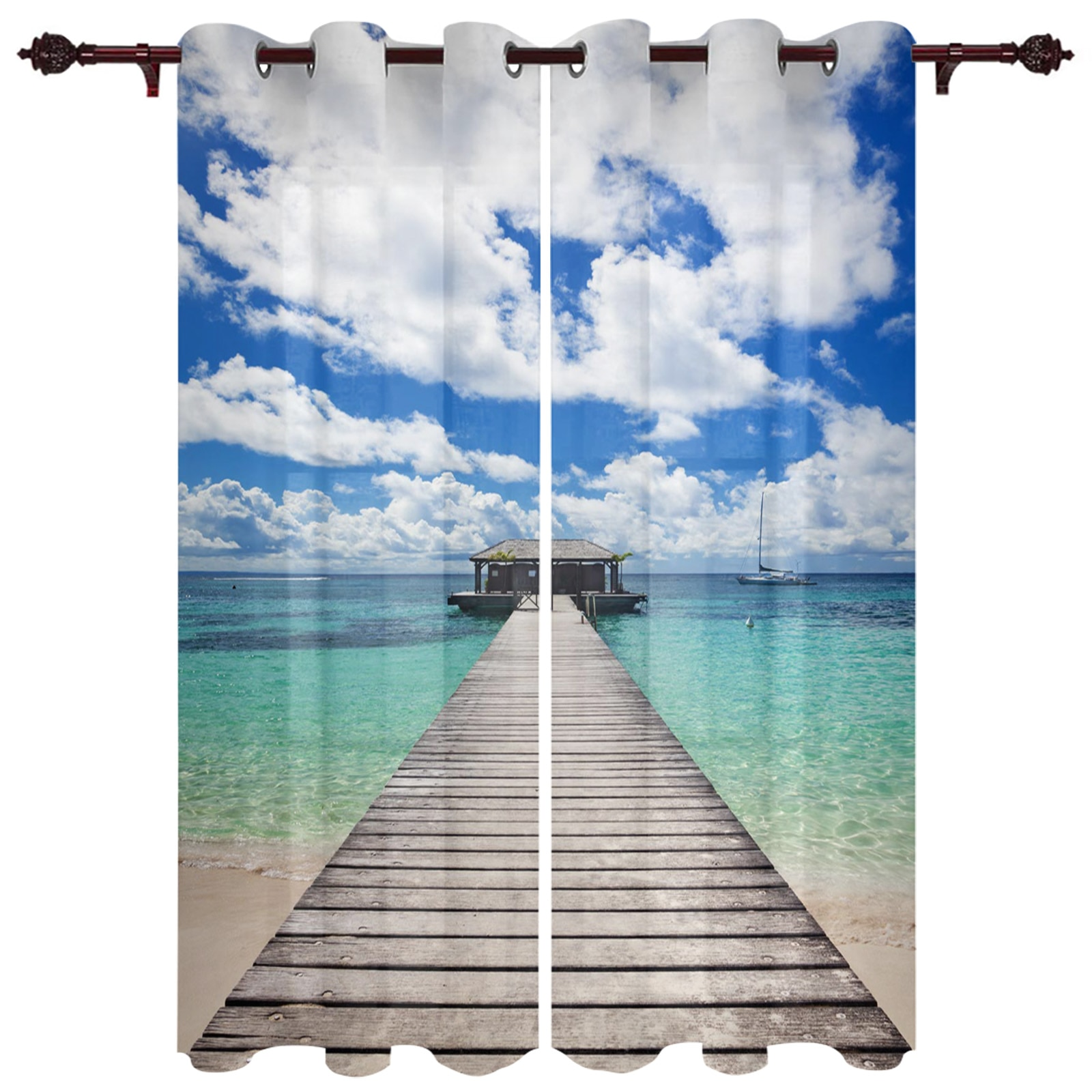 الستائر الحديثة البحر جسر خشبي السماء الشاطئ غرفة المعيشة غرفة نوم كبيرة نافذة الستائر شرفة في الهواء الطلق أكشاك معلقة الستائر