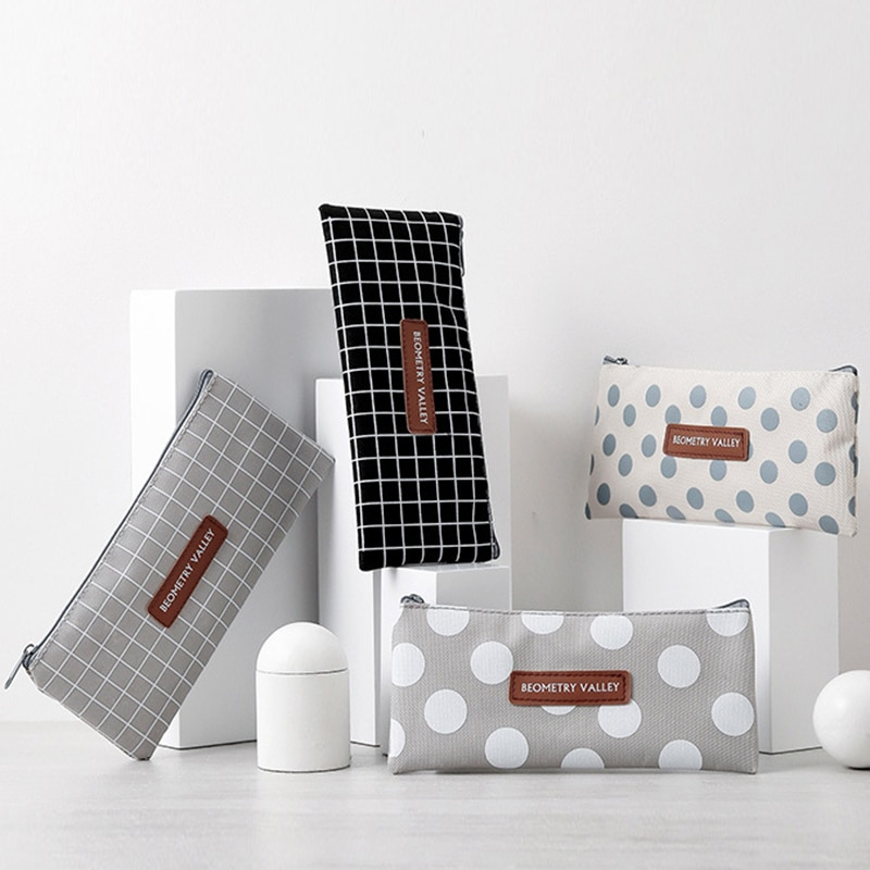 Bolsa de lápices de lona Kawaii con diseño de lunares, organizador sencillo de material de papelería, bolsa pequeña dulce para mujeres y niñas, bolsa de maquillaje