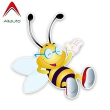 Aliauto-autocollant abeille confortable   Amusante, pour voiture, 14cm x 14cm, couverture en PVC, rayures pour Volkswagen Polo Ford Audi