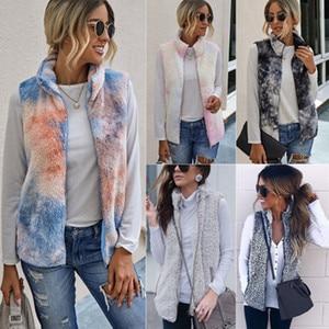 2020 autumn and winter fashion tie-dyed fur zipper pocket high neck waistcoat women's vest