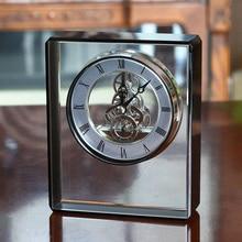 Horloge de Table en cristal nordique horloge de bureau en verre or créatif de luxe horloge de bureau en métal mécanique AC50TC
