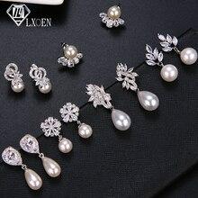 LXOEN mode corée ronde Imitation perle boucles doreilles avec zircone luxe femmes boucles doreilles de mariage goujons inde bijoux cadeau
