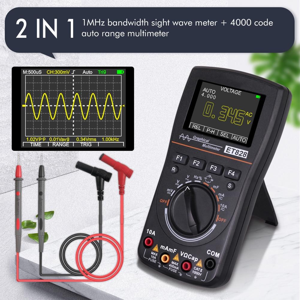 مقياس ذبذبات رقمي متعدد ET828 2 في 1 1 ميجاهرتز 2.5Msps شاشة ملونة تيار مستمر/تيار متردد الجهد الحالي المقاومة اختبار تردد الصمام الثنائي