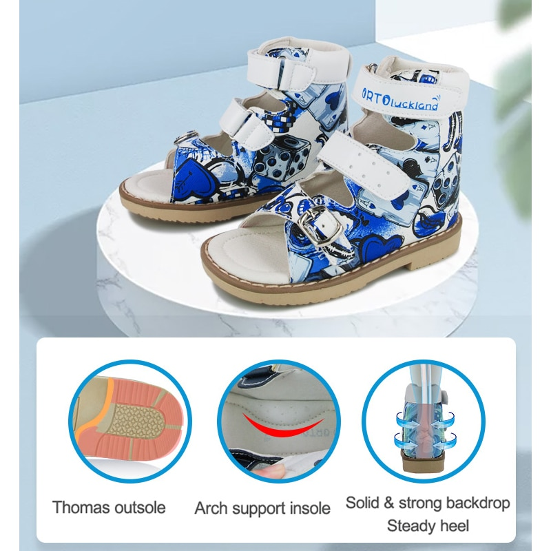 Ortoluckland Girls Red Sandals Orthopedic Leather Shoes For Children Buckle Strap Arch Support Rigid Flatfeet Footwear 3 4 5Year enlarge