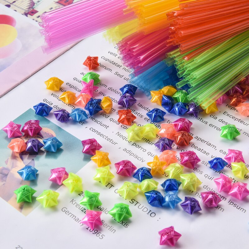 Children Handmade Folded Star Plastic Straw Lucky star Diy love rose Tube Origami Fancy Creative Birthday Gift for Boyfriend